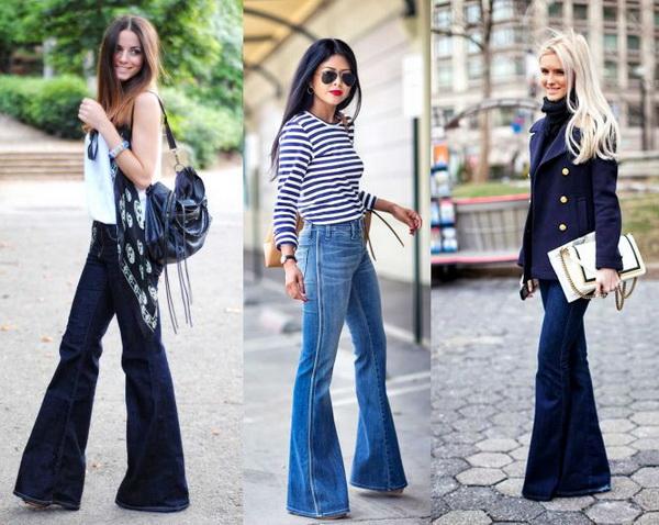 женские джинсы клеш от бедра купить