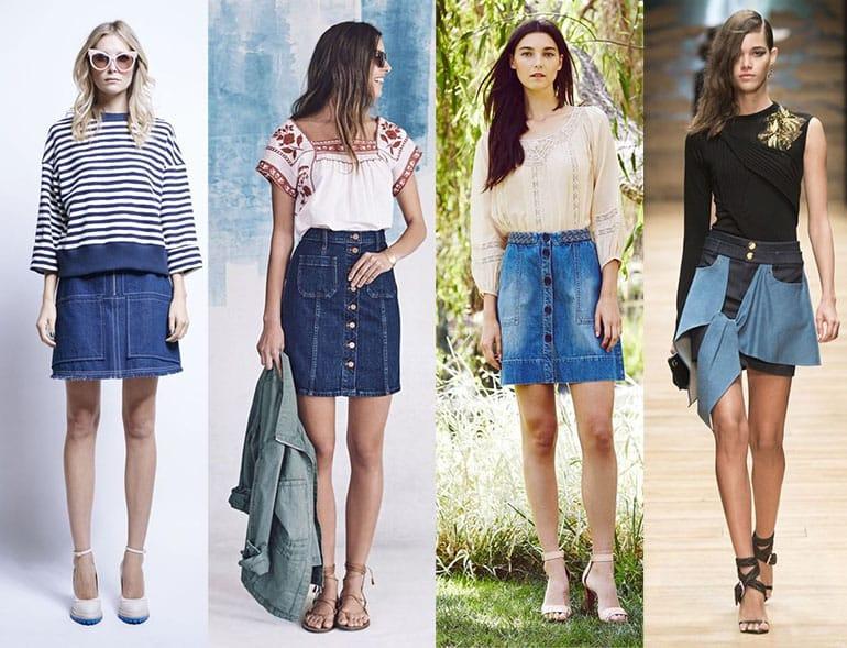 Джинсовые юбки 2017 года модные тенденции фото белое платье купить недорого