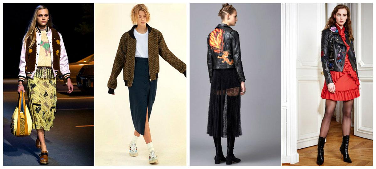 Кожаные-куртки-женские-2018-модные-модели-с-цветочным-принтом-Модные женские куртки 2018