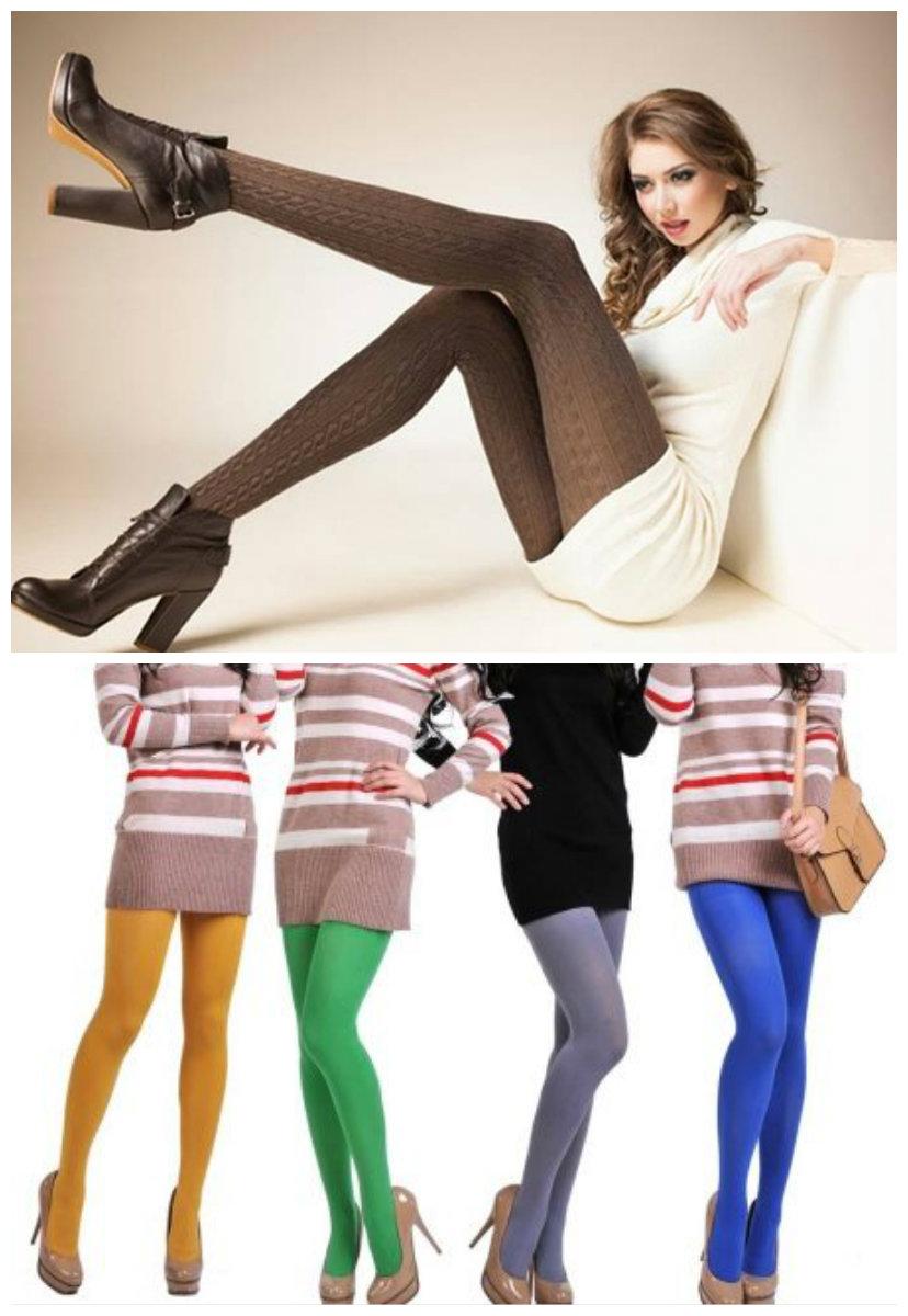 Модная-женская-одежда-2018-фото-Одежда-из-денима-шуба-яркие-колготки-брюки-Модная женская одежда 2018