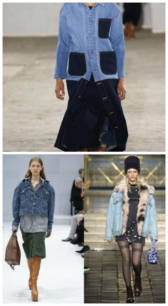 Модная-женская-одежда-2018-фото-Одежда-из-денима-шуба-яркие-колготки-брюки-Верхняя модная одежда 2018 фото