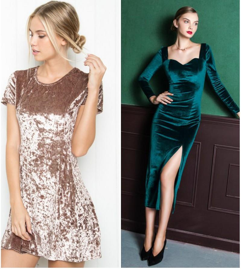 Модные платья 2018:платья из бархата