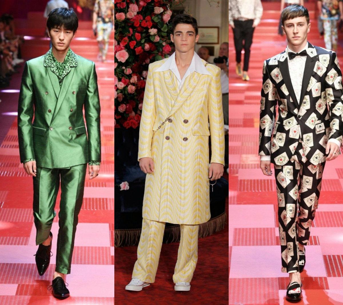 Мужские костюмы 2018: яркость и принты