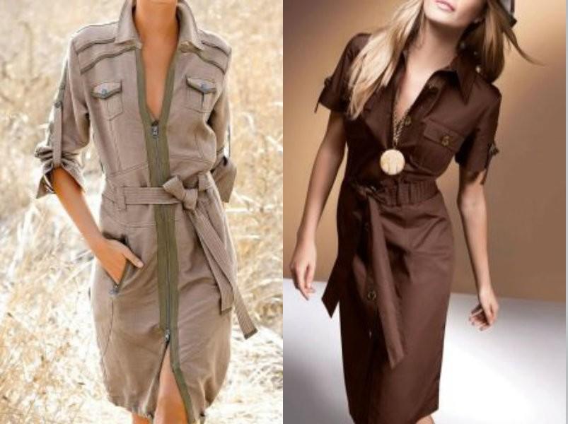 Стиль милитари 2019: платья халаты