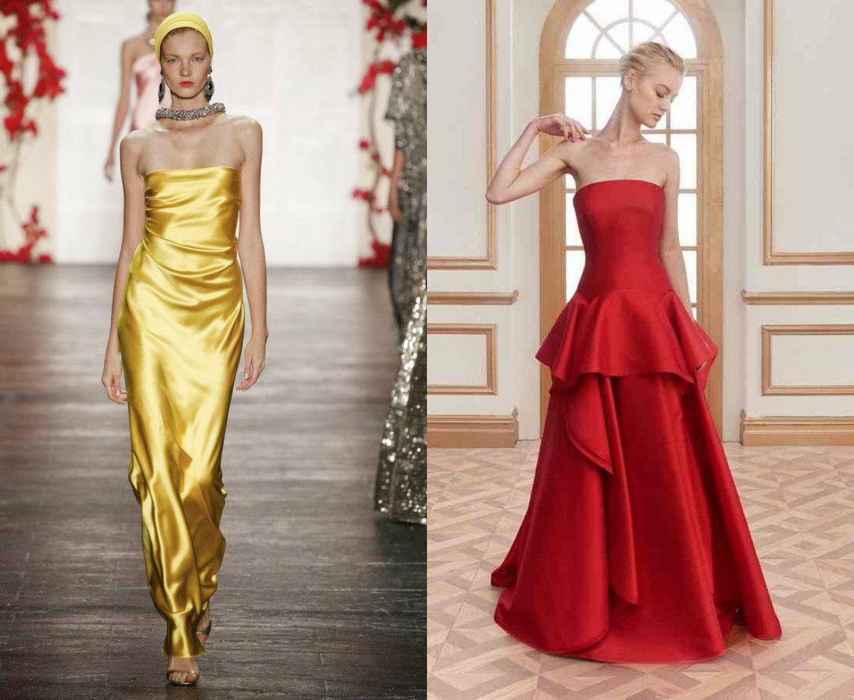 Модные платья 2018:атласные платья