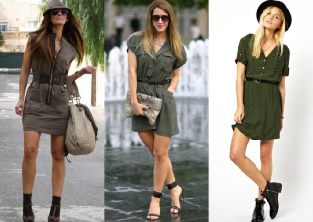 Модные платья 2018: платье милитари