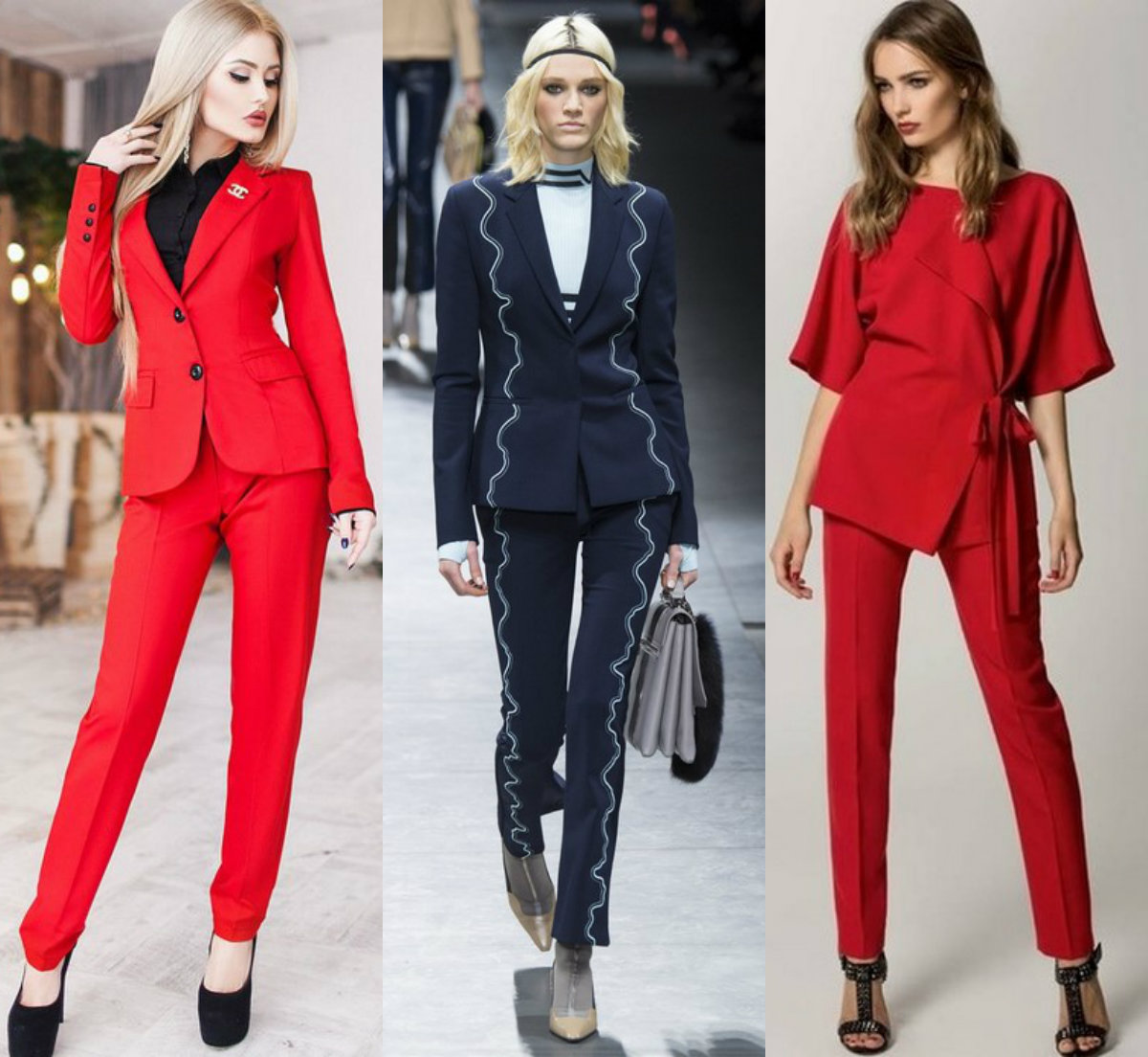 Женские костюмы 2018 : модели с необычным кроем