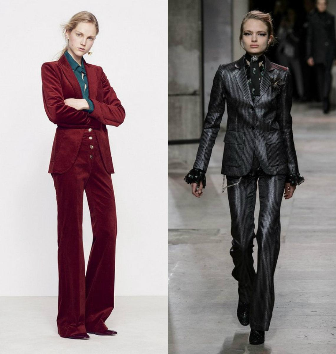 Женские костюмы 2018 : велюр и кожа