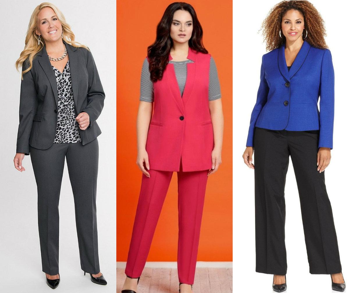 Женские костюмы 2018 : модели для полных