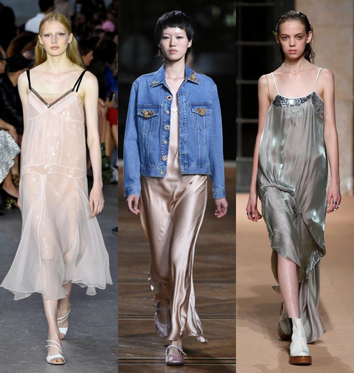 модные тенденции платьев 2018: бельеой стиль
