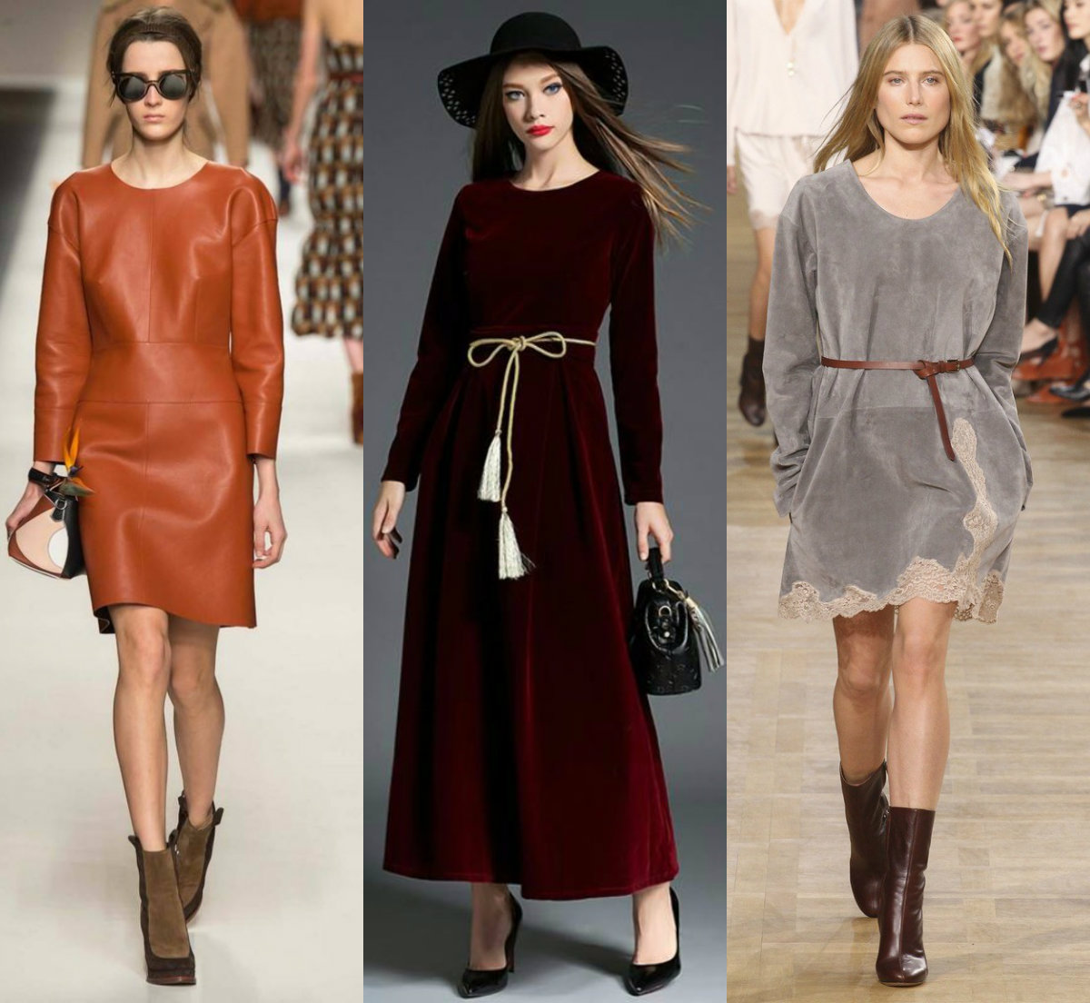 модные тенденции платьев 2018: кожаны, зампевыен и бархатные наряды