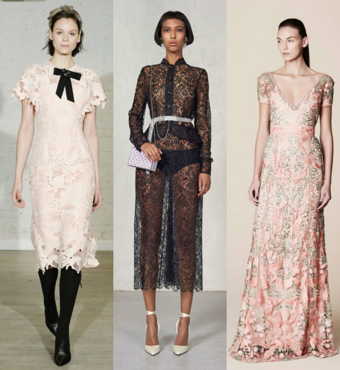 модные тенденции платьев 2018: кружевные модели