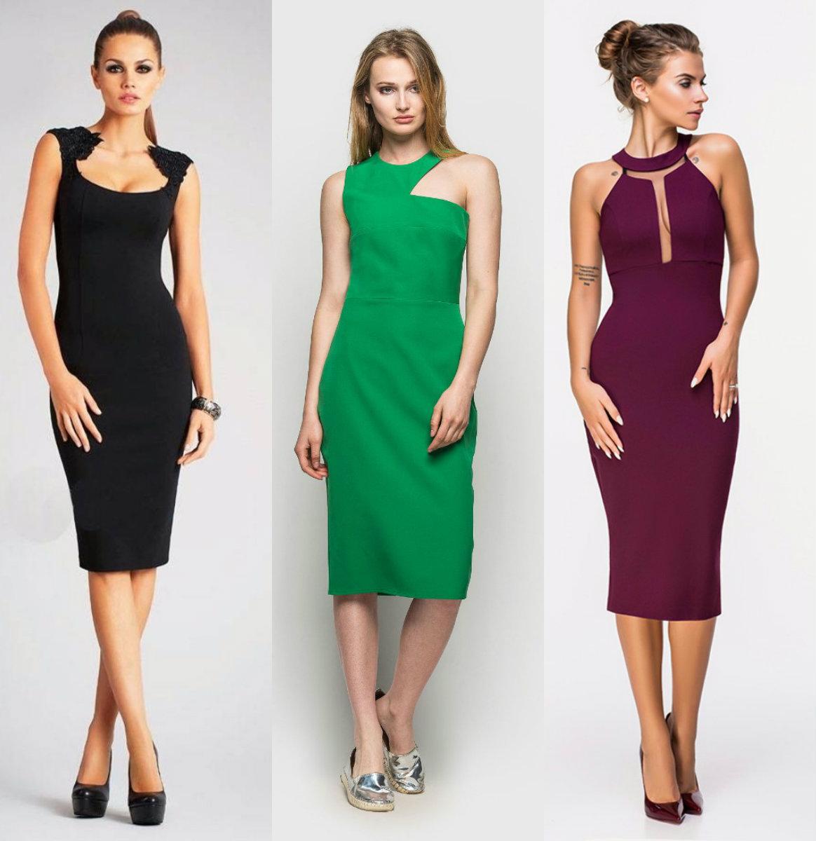 Фасоны платьев 2019: модели-футляр