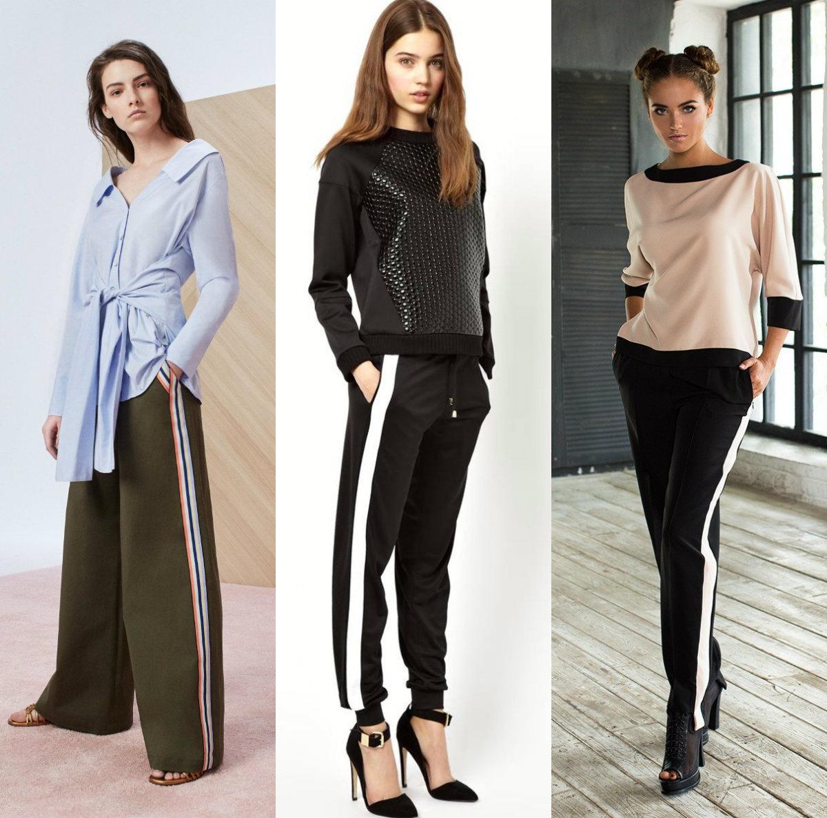 брюки женские 2019: модели с лампасами