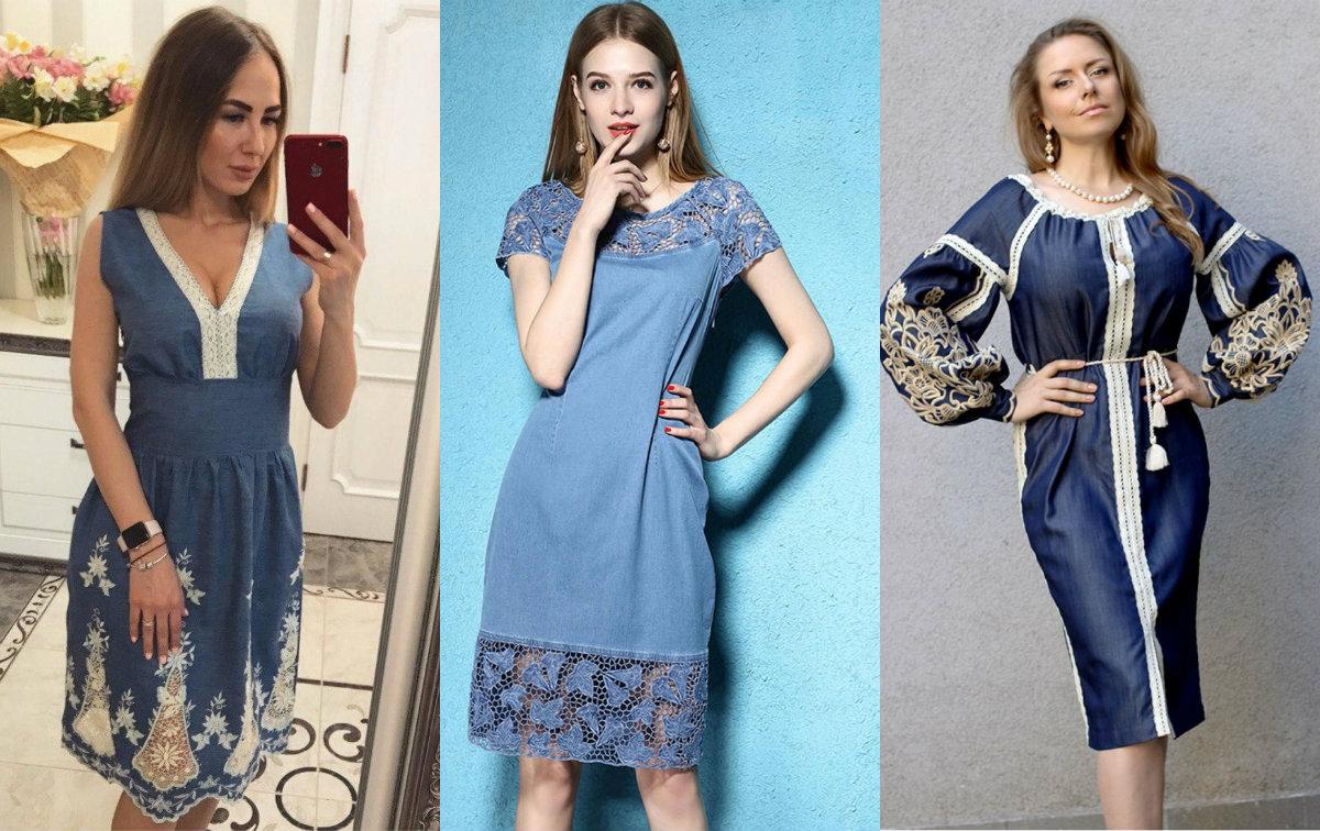 Джинсовые платья 2018: кружевные модели