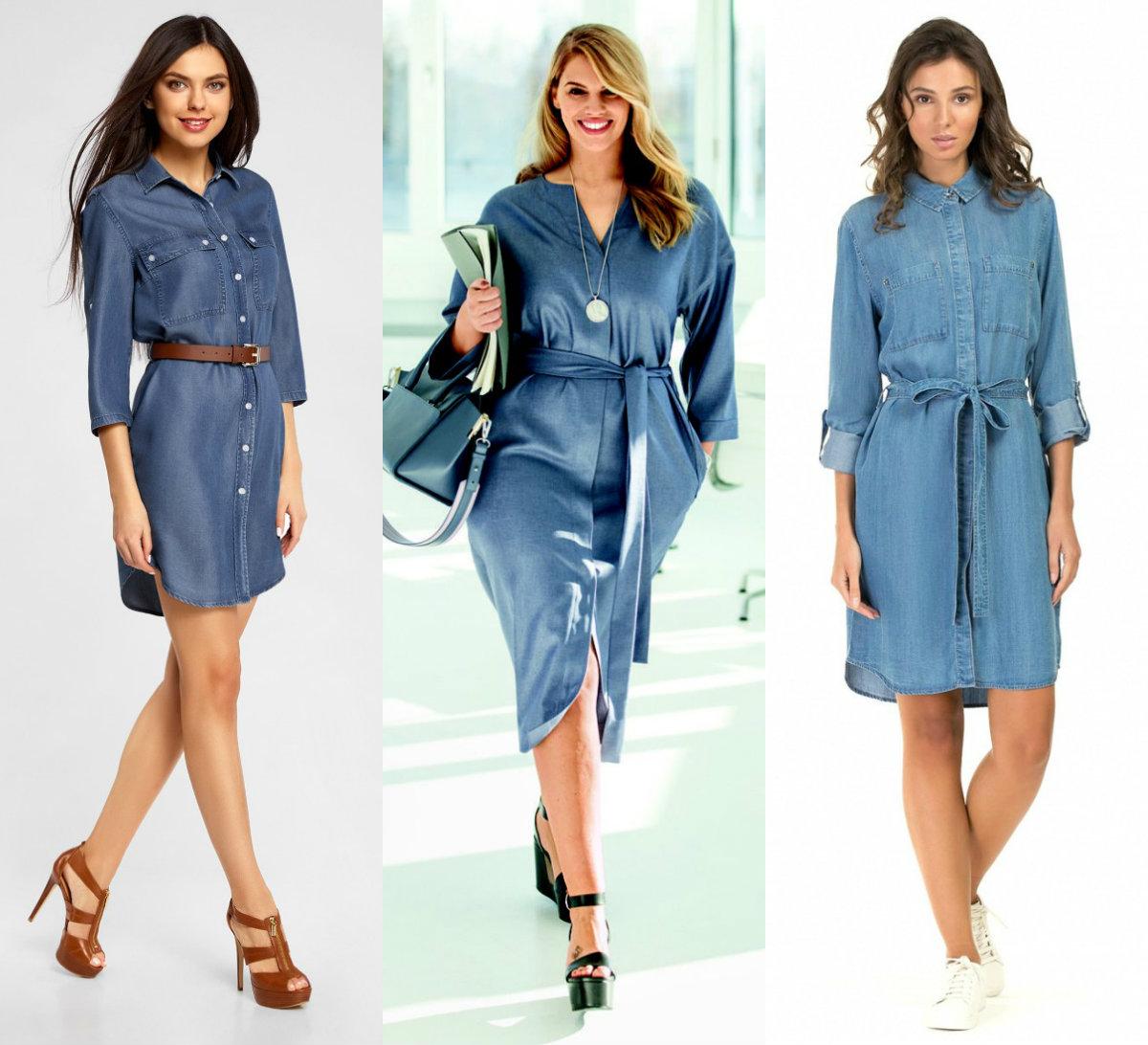 Джинсовые платья 2018: модели в рубашечном стиле