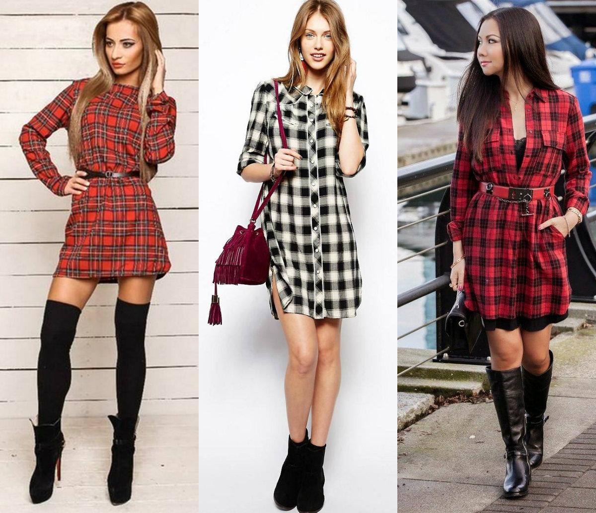женская мода 2018 : платья в клетку
