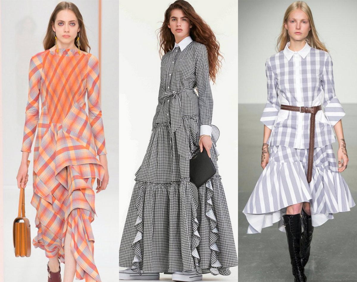 женская мода 2018 : клетчатые платья