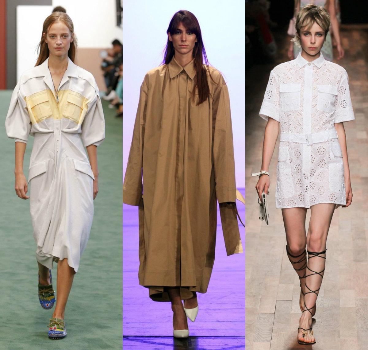 модные тенденции платьев 2018: платья рубашки