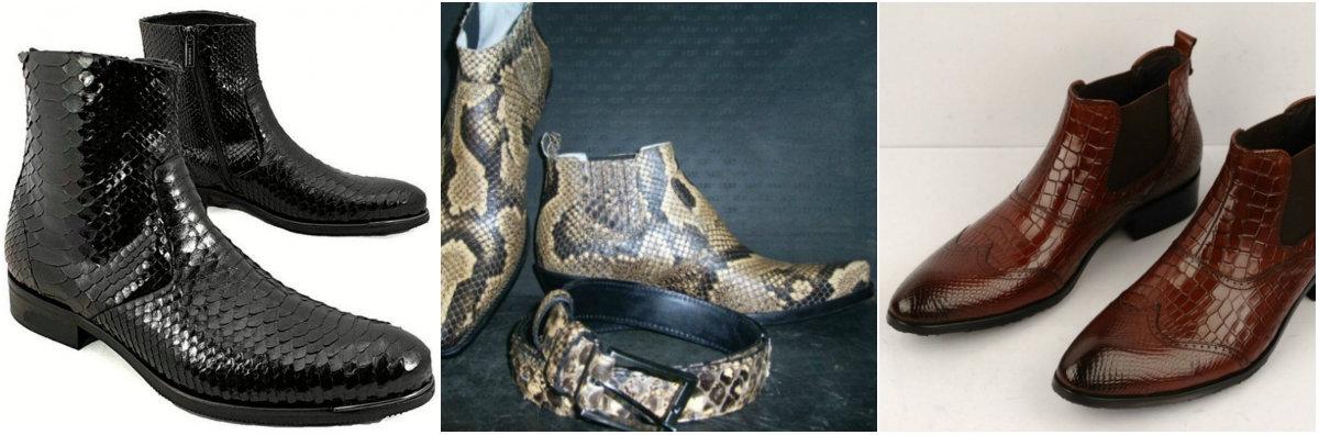 мужские ботинки 2018 : ботинки из кожи рептилий