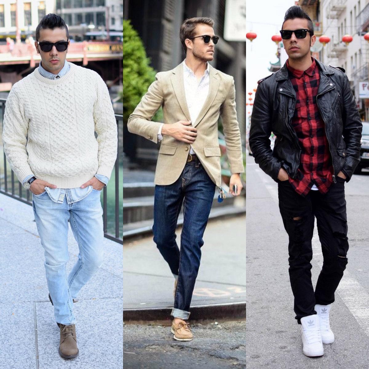 Мужские джинсы 2018: варианты комбинаций с верхом
